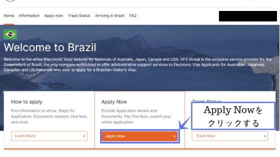 ブラジルe-visa申請方法