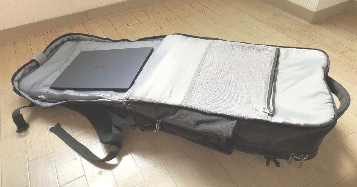 大容量リュックInateckの特徴②大きなノートパソコンもしっかり入ります