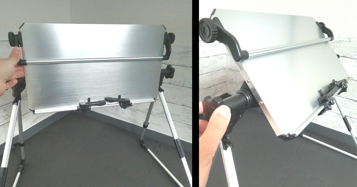 仰向けゴロ寝デスク2の展開方法④机を立てて任意の角度にデスクを設置する