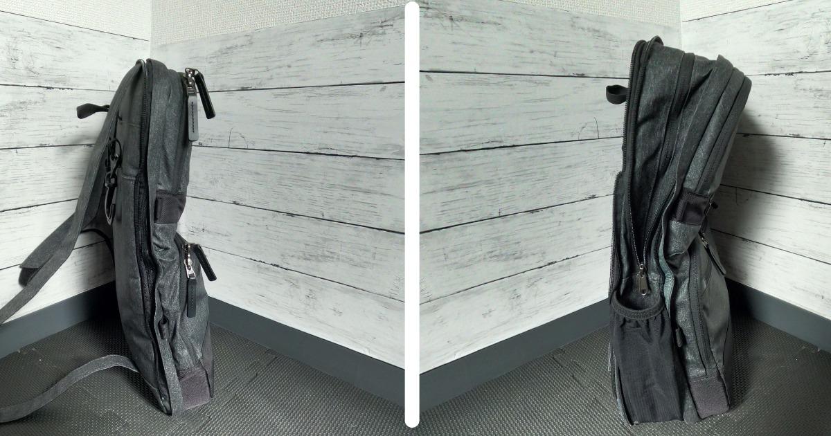 普段は薄く荷物が多い時はジップでリュックを大きくできます